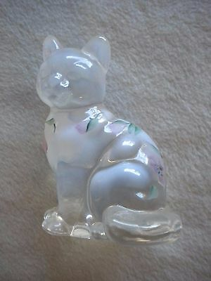 Fenton Art Glass Hand Painted White Opalescent Sitting Cat Pink Flowers