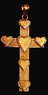 LOOK Gold Plated Celtic Heart Cross Love Jesus silver charm