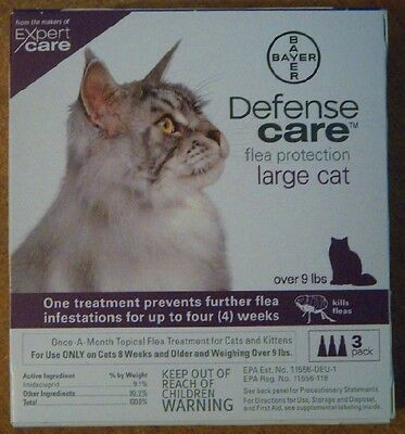 Bayer Defense Care Flea Protection For Large Cats Over 9 Lbs 8 Weeks Old 3 Ct