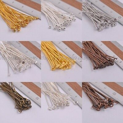 100Pcs Silver Plated Ball Head Eye Pins Jewelry Findings 16-70MM
