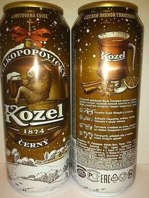 Velkopopovicky Kozel 0.500 l.beer can from Russia.Limited Edition Winter 2016