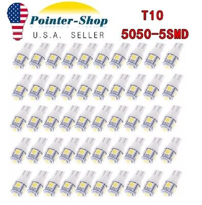 50x Super White T10 Wedge 5-SMD LED Interior Light bulbs 5050 W5W 194 168 2825
