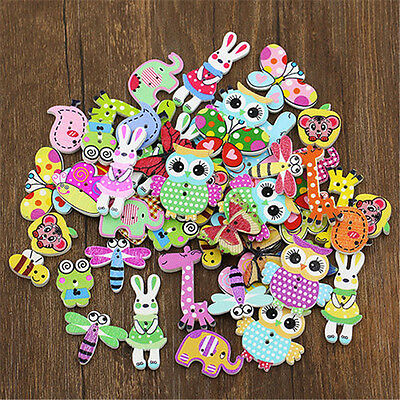 50/100Pcs Mixed Animal Wooden Buttons Sewing Craft Scrapbooking DIY Amazing
