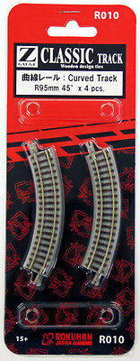 Rokuhan R010 R95mm 45º Curved Track 4 pcs. (1/220 Z Scale)