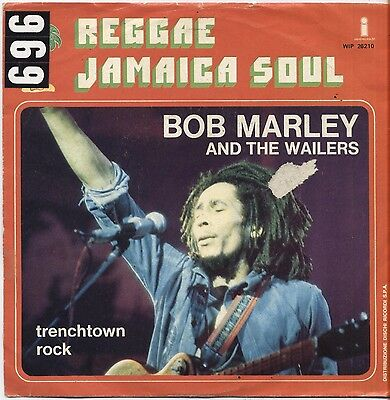 """BOB MARLEY & THE WAILERS - Trenchtown rock - VINYL 7"""" 45 LP ITALY 1975 VG+/ VG-"""