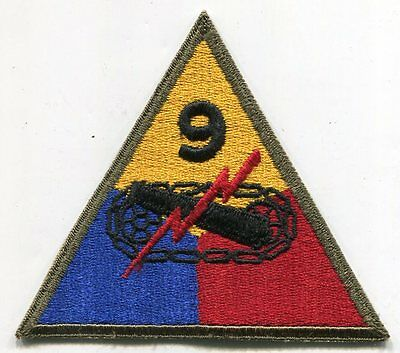 ORIGINAL WWII US Army 9TH ARMORED DIVISION PATCH