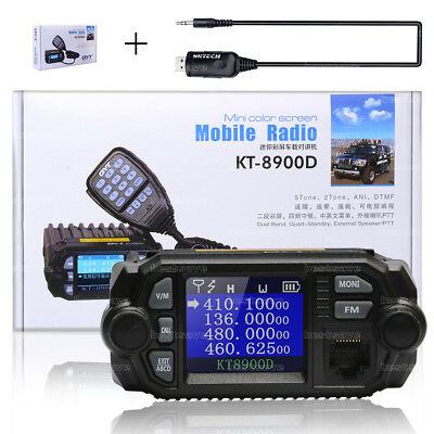QYT KT-8900D Dual Band Quad-Standby 5Tone VHF UHF Car/Trunk Mobile Radio +Cable