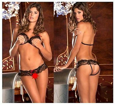Women's Sexy, Lace, Open crotch, Black, Two Piece Bra & Knickers/Briefs Set