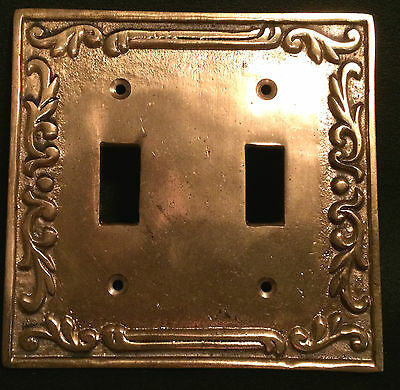 Antique Vintage Switch Plate Brass Bronze Early 20Th 2 Gang Double Very Nice