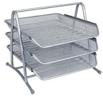 Silver Mesh Letter Tray 3-Tier Scratch-resistant Stackable  Storage Holder