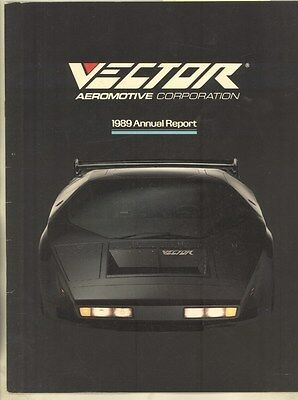 1989 Vector W2 Twin Turbo Aeromotive Annual Report Brochure ww3021