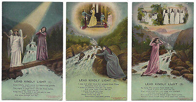 LEAD KINDLY LIGHT Set of 3x Old Religious Song Card Postcards by Bamforth