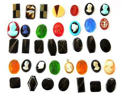 Job Lot Of Vintage Cameo / Art Deco Cabochons For Jewellery Craft Making