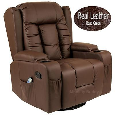 Cesare 10 In 1 Brown Winged Leather Recliner Chair Rocking Massage Swivel Heated