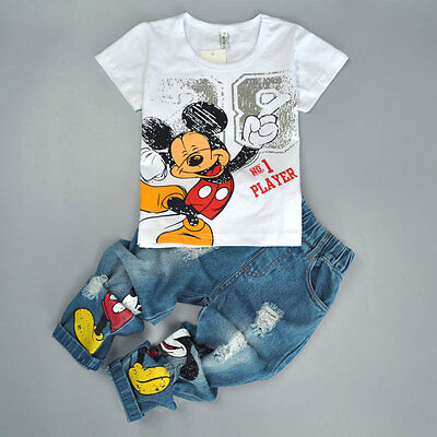 2PCS Kids Baby Boys Mickey Mouse Short Sleeve T-Shirt Tops + Jeans Pants Outfits