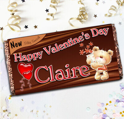 Personalised Valentines Day 114g Galaxy Chocolate Bar Wrapper Love you Gift N56