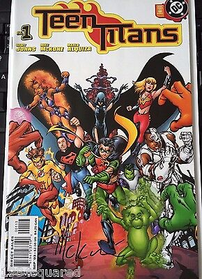 Teen Titans 1 NM Signed 3rd Print White Variant Mike McKone HTF Geoff Johns Hot