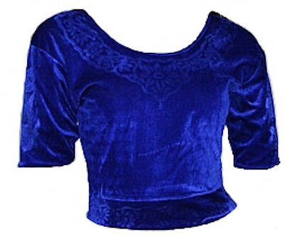 Blau Samt Top Choli für Bollywood Sari Gr. S bis 3XL