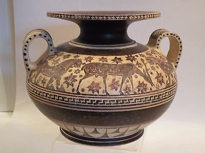 shlf ANCIENT GREEK POTTERY REPRODUCTION LARGE AMPHORA GREECE HANDMADE & PAINTED