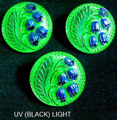 3 Czech Vaseline/Uranium Glass Buttons #A273 - RARE LILY of the VALLEY