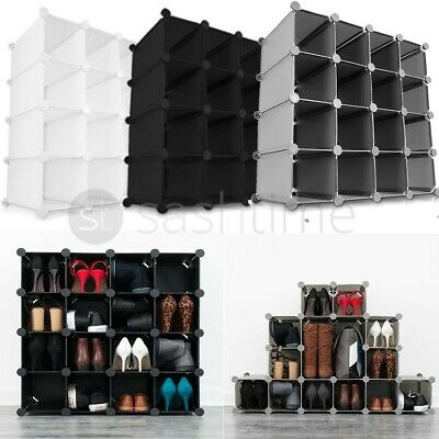 New Interlocking 16 Pairs Cube Shoe Organizer Rack Storage Shelves Display Stand
