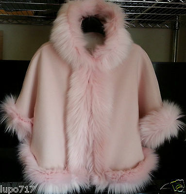 Pink Kids Girls Fluffy Faux Fur Hooded Winter Cape Coat Poncho Size L 8-10 Years