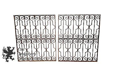 """2 Antique Forged Iron 49"""" Window Guard Grate Covers Bar Architectural Gothic"""