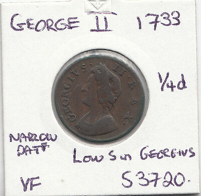 1733 George Ii Farthing S3720-See Description