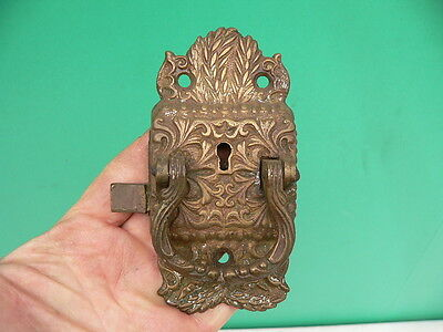 Ornate Antique Victorian Cast Brass Icebox Cabinet Door Lock handle latch