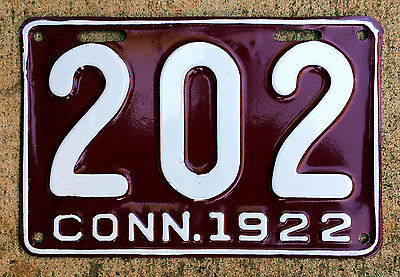 1922 Connecticut truck license plate 202 low number shorty