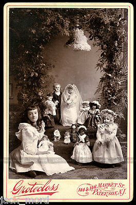 Remarkable 1890s Cabinet Card Photo ~ Little Girl Attending Doll Wedding