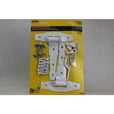 Ornamental Gate Tee And Latch Set Stanley Gate Hardware 79-0896 White Steel