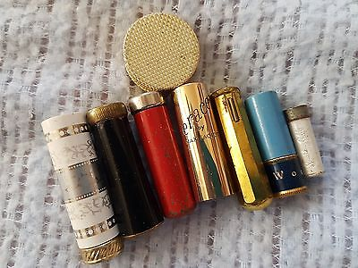 Vintage Lot of Brass Lipstick Cases, Tubes 6 Gold Tone