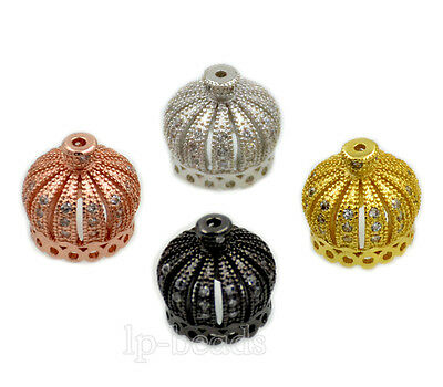 Zircon Gemstone Micro Pave Crown Connector Bracelet Necklace Charm Beads Gold