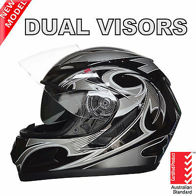 New Full Face Motorcycle Road Helmet Adult Dual Visor System Silver Aus Standard