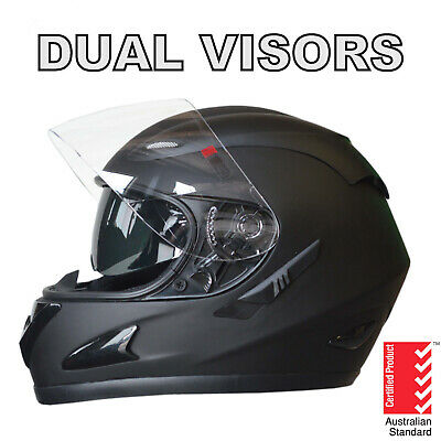 New Full Face Motorcycle Road Helmet Adult Dual Visor System Matt Black New