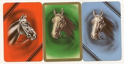 Swap Playing Cards 3 single Horse Heads Vintage