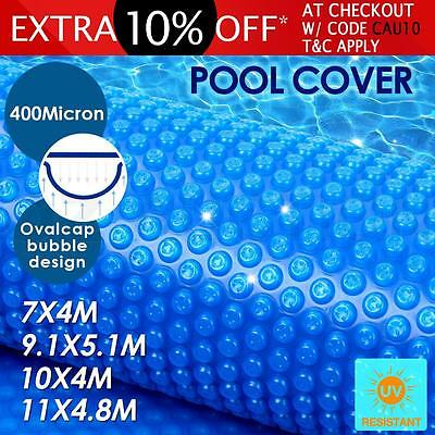 400 Micron Outdoor Solar Swimming Pool Cover Oval Bubble Blanket Multi-Size