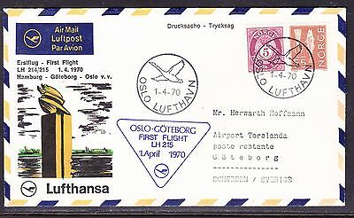 Norway 1970 Lufthansa LH21/215  Oslo to Goteborg Sweden  Flight Cover