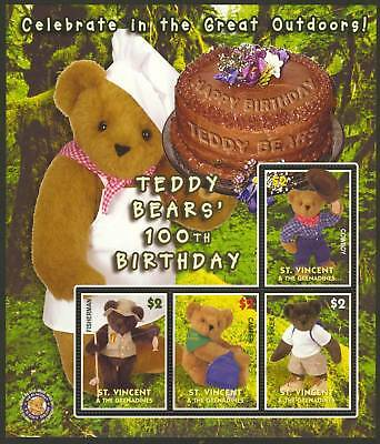 St Vincent 3048 MNH Teddy Bear, Birthday Cake, Outdoors