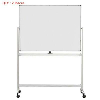 2 X New 900X1500Mm Double Sided Magnetic Whiteboard With Aluminum Stand E0
