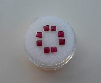 8 Ruby Square Loose Natural Gems 3mm each