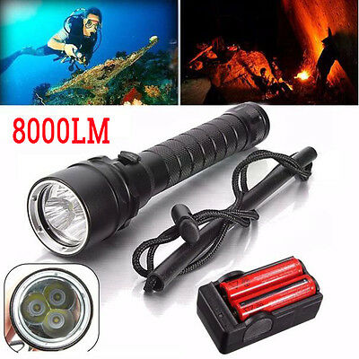 8000LM 3x XM-L T6 LED Scuba Diving Waterproof Flashlight Torch +18650 Battery UK