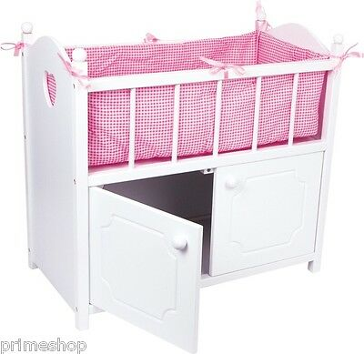 Dolls bed with Cupboard Accessories Linen Wood ca. 58 x 31 x 54 cm new