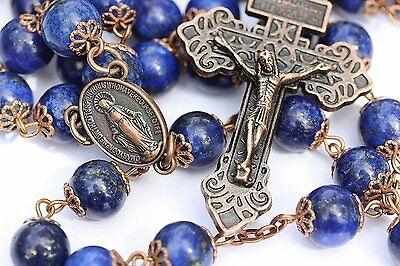 Large Genuine Lapis and Copper 10mm 5 Decade Natural Stone Bead Rosary Made in