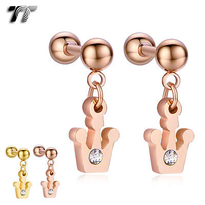 TT Surgical Steel Crown Dangle Cartilage Tragus  Earrings (BE178) NEW