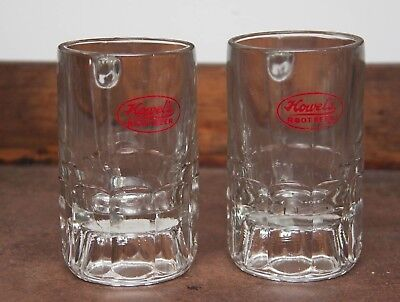 Vintage HOWEL's ROOT BEER Heavy Glass Mugs w/ Red ACL Logo