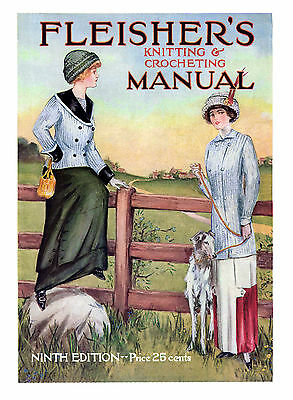 Fleisher's Knitting & Crocheting Manual #9 c.1911 HUGE Book of Vintage Patterns