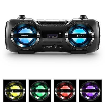 Boombox Bluetooth Radio Reproductor Cd Usb Sd Altavoces 25W Rms Luces Colores