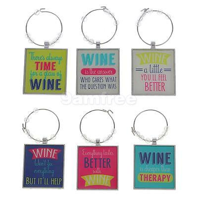 Assorted Christmas Wine Glass Charms, Set of 6 Novelty Wine Marker Ring